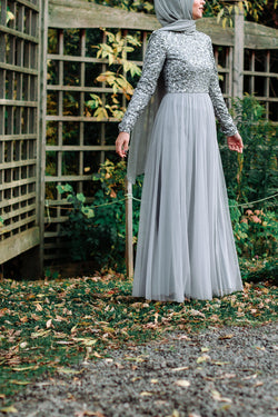 Ice Grey Beaded Tulle Gown