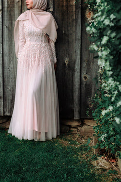 Blush Pink Pearl Beaded Gown