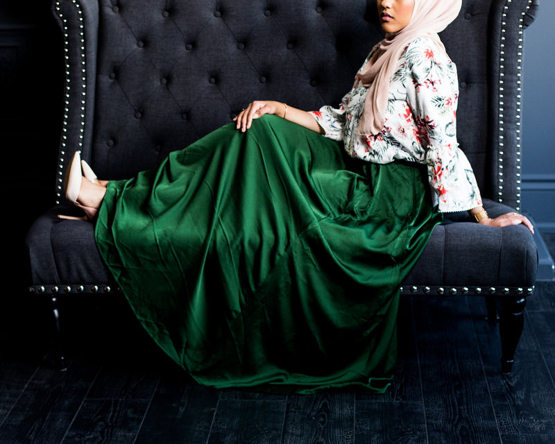 Emerald Green Satin Skirt