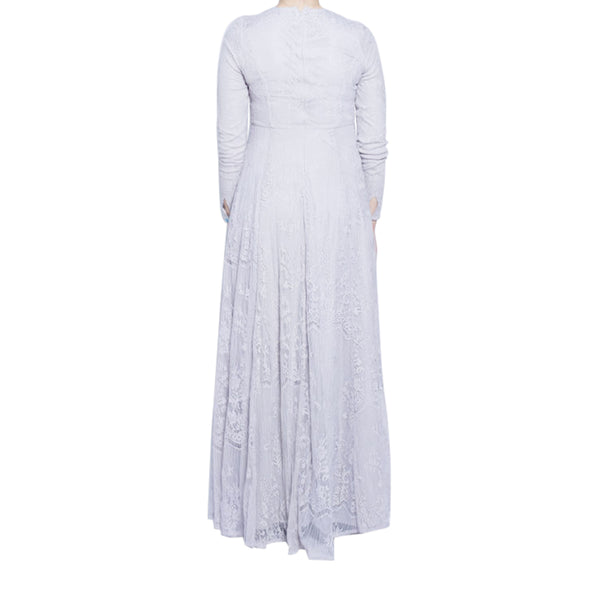 CURBSIDE PICK-UP Lunar Grey Lace Gown