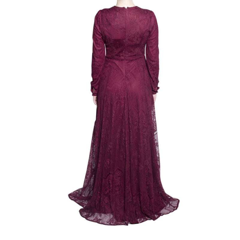 CURBSIDE PICK UP Burgundy Lace Gown