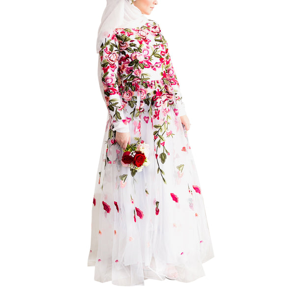 CURBSIDE PICK-UP White Floral Embroidery Tulle Gown