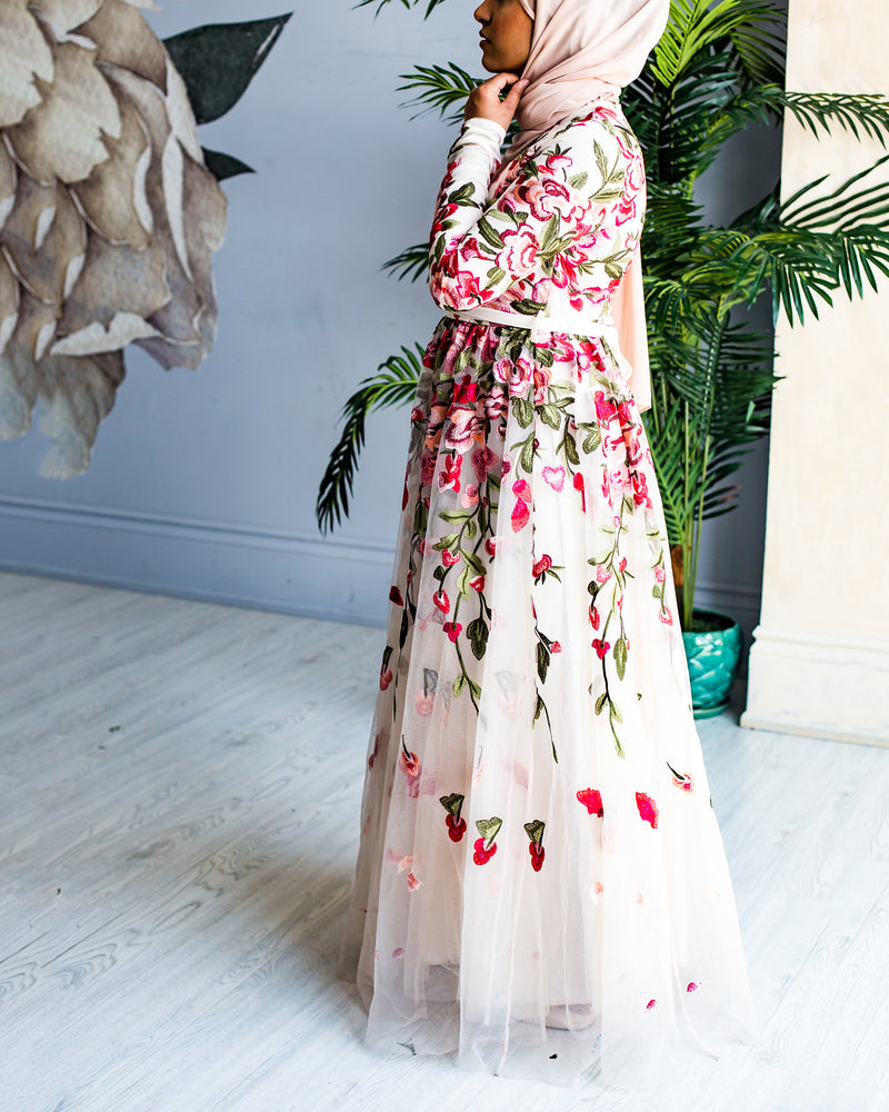 Nude Floral Embroidery Tulle Gown