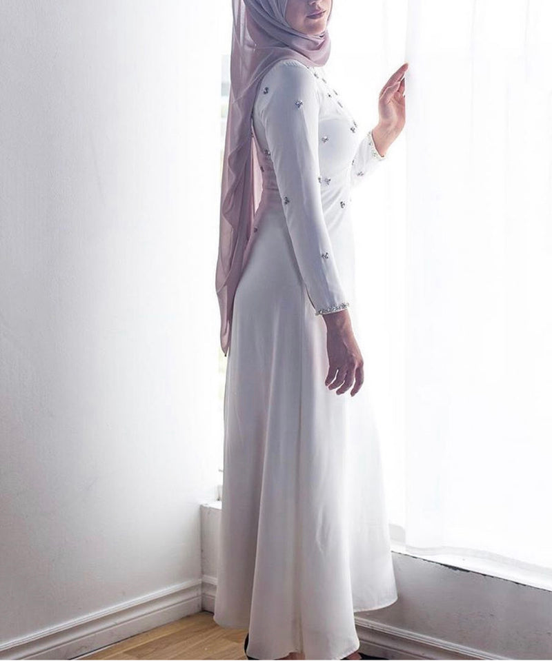 CURBSIDE PICK-UP White Embellished Gown