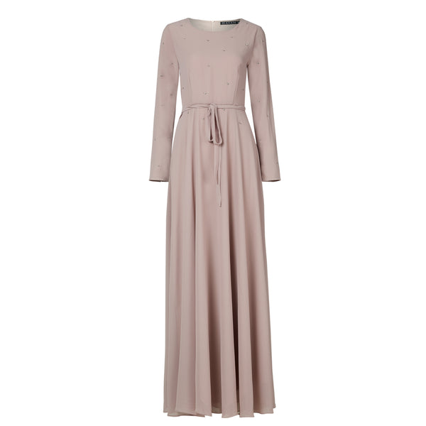 Curbside Pick-UP Taupe Embellished Gown