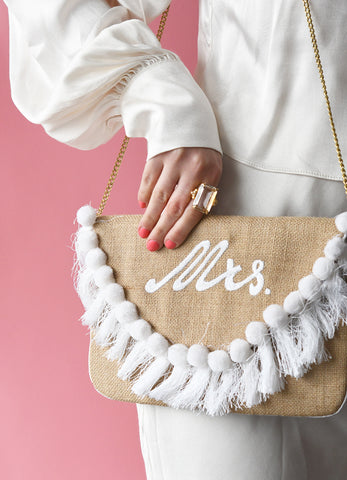Embroidered Mrs. Tassel Clutch