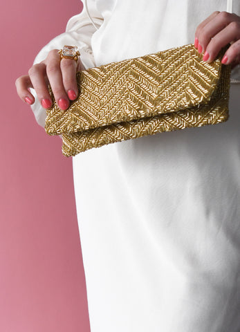 Zig-Zag Fold Over Clutch in Gold