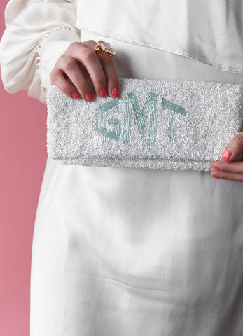 Personalized Beaded Fold Over Clutch - Monogram