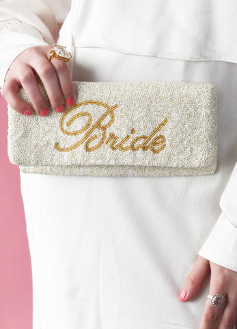 Bride Beaded Fold Over Clutch