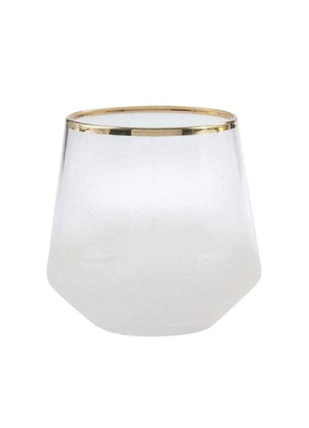 Frosted Gold Rimmed Rocks Glass