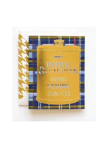 100% Pure Gentleman Gold Flask Card