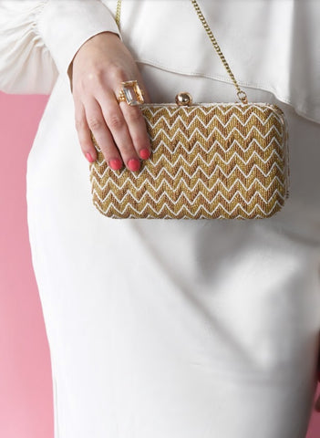 Gold Beaded Box Bag