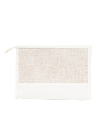 White Linen Cosmetic Bag