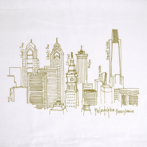 Philadelphia Skyline Tea Towel