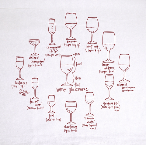 Wine Glassware Tea Towel