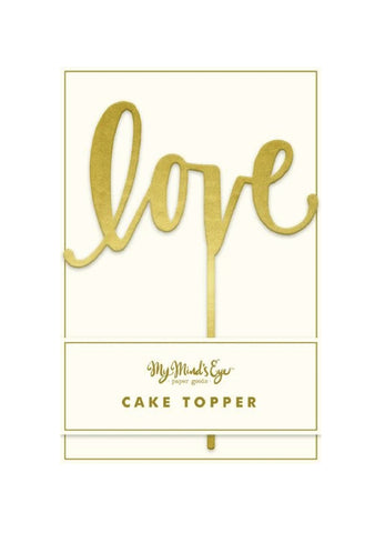 Gold Mirror LOVE Cake Topper