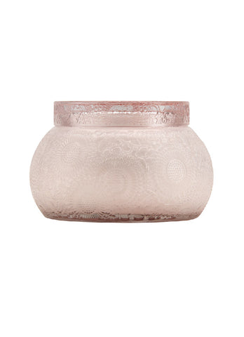 Embossed Glass Chawan Bowl with Lid Candle
