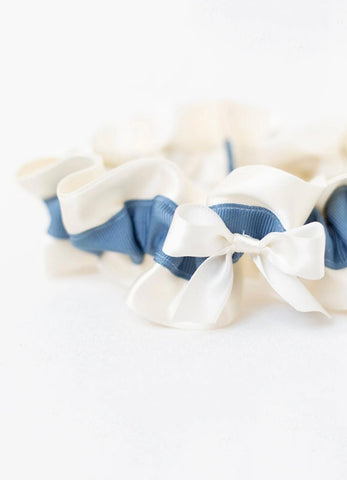Modern Blue and Ivory Bridal Garter
