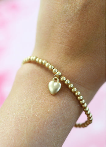 Heart of Gold Beaded Bracelet