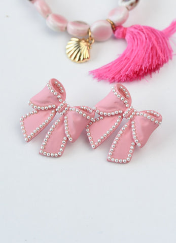 Pink Bow Stud Earrings