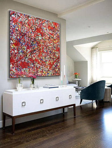 Jackson Pollock Oil Painting on Canvas | Abstract art home decor drip style painting L229
