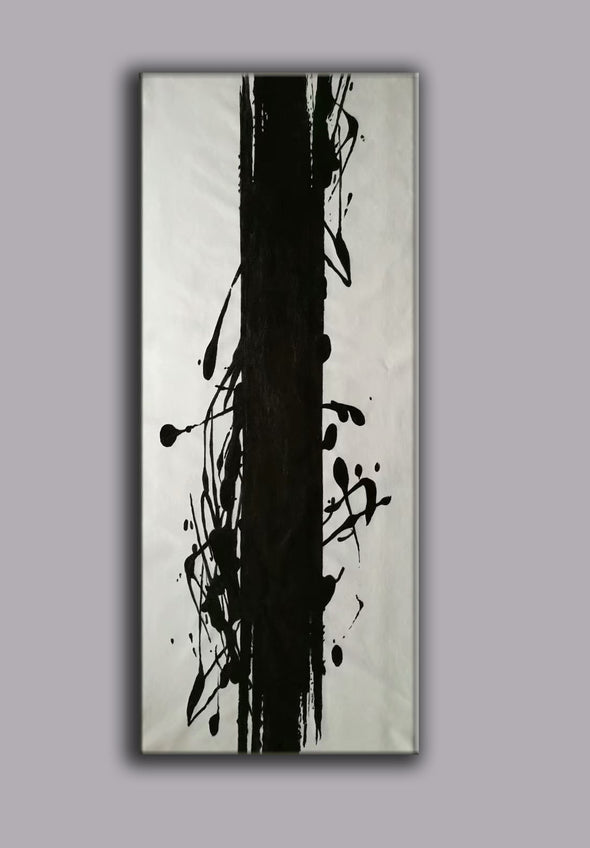 black and white canvas painting