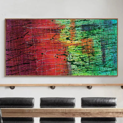 Colorful abstract art, Abstract drip painting L231