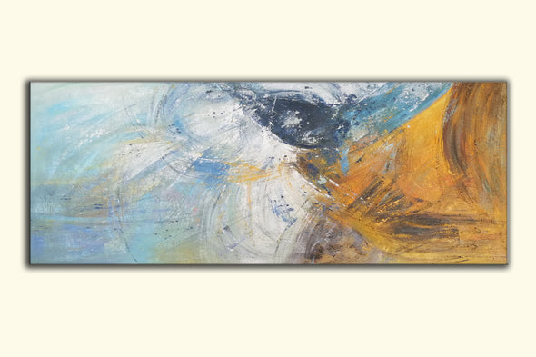 blue abstract canvas painting