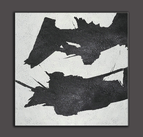 black and white abstract oil painting