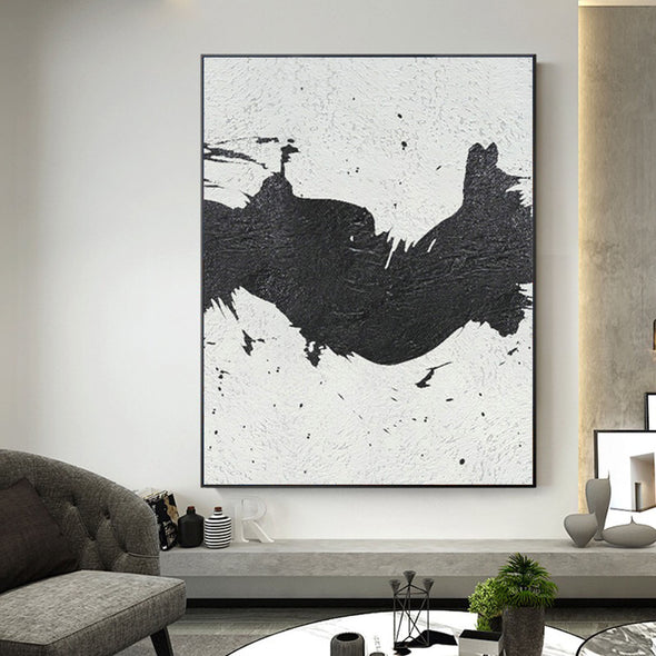 black and white abstract paintings on canvas