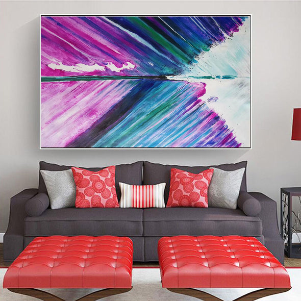 Red canvas artwork for sale, contemporary abstract painting L140