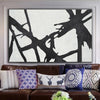 large black and white abstract painting