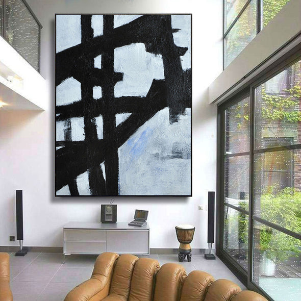 large black and white painting