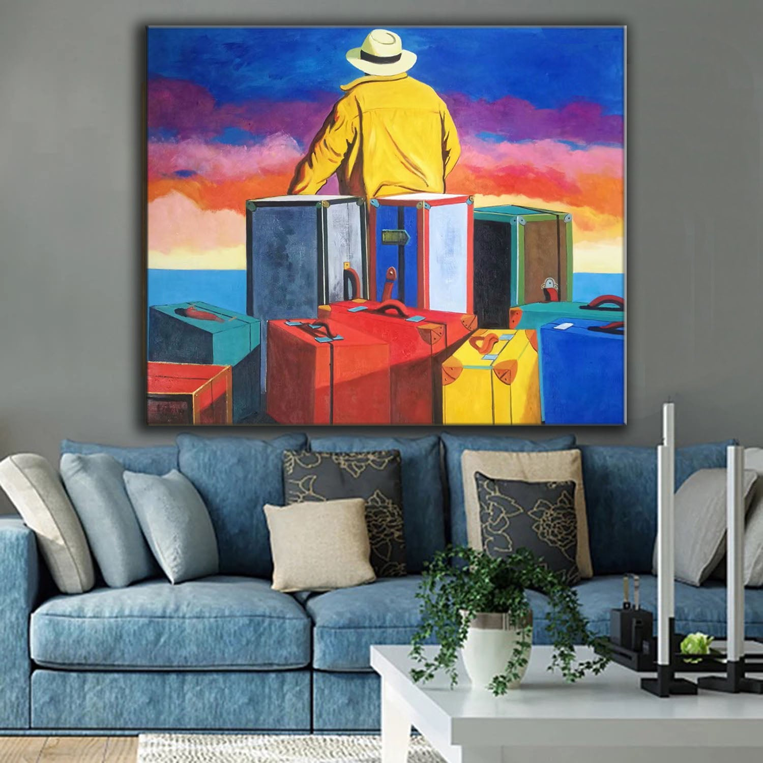 Blue Abstract Oil Painting Large Canvas Wall Art L508