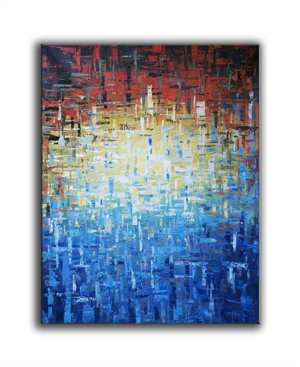 blue and yellow abstract paintings