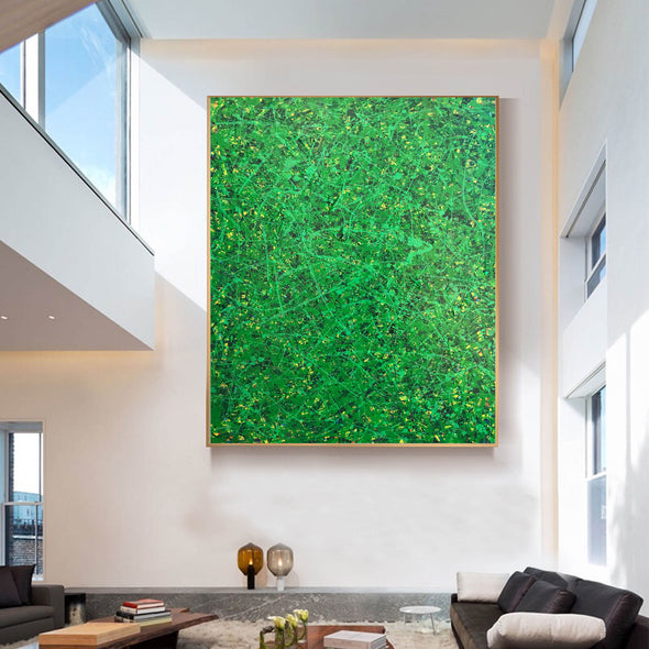 Green abstract painting | Black and green abstract | Large green painting L735-8