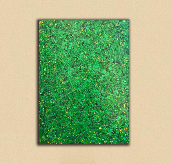Green abstract painting | Black and green abstract | Large green painting L735-2