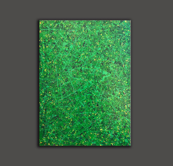 Green abstract painting | Black and green abstract | Large green painting L735-3