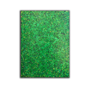 Green abstract painting | Black and green abstract | Large green painting L735-1