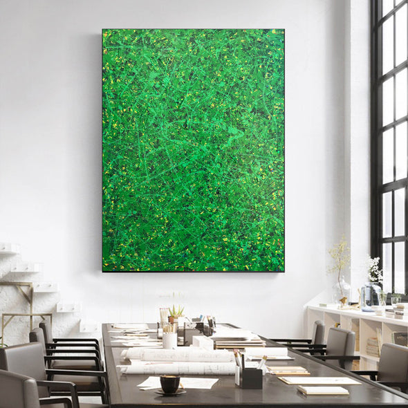 Green abstract painting | Black and green abstract | Large green painting L735-4