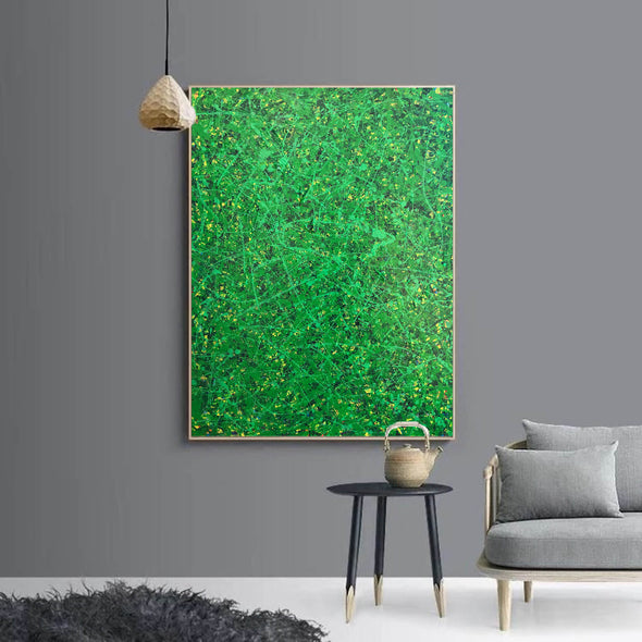 Green abstract painting | Black and green abstract | Large green painting L735-5