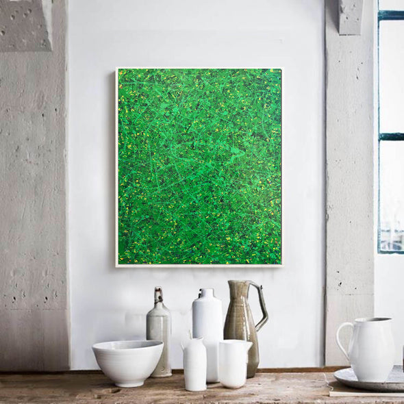 Green abstract painting | Black and green abstract | Large green painting L735-7