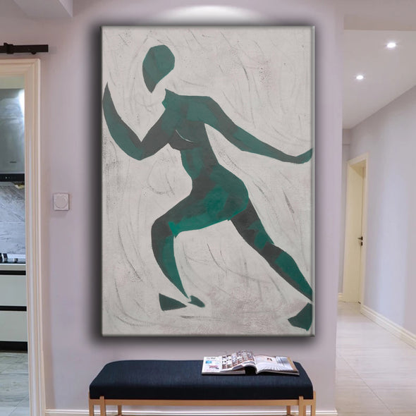 Green and white painting | Oversize green painting | Original canvas art L678-4