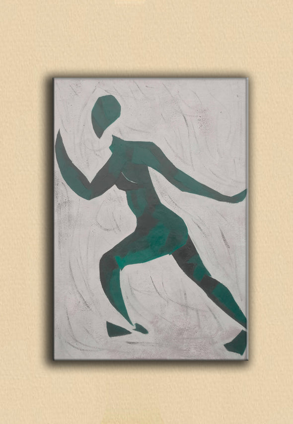 Green and white painting | Oversize green painting | Original canvas art L678-7