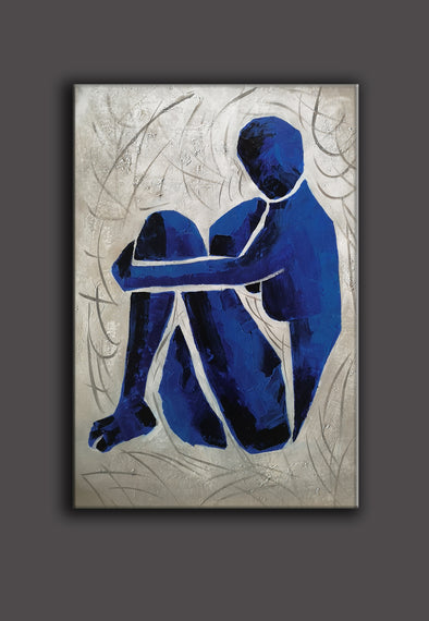 Henri matisse inspired painting | Oversize blue painting L689-1