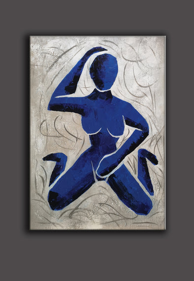 Henri matisse style abstract | Original Blue white abstract painting L690-1