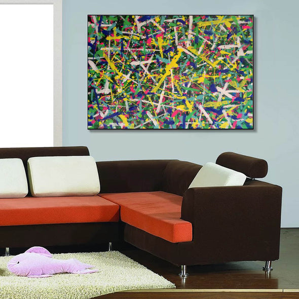 Living room paintings for sale | large pollcok style painting | Colorful painting L769-4