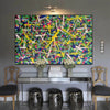 Living room paintings for sale | large pollcok style painting | Colorful painting L769-3