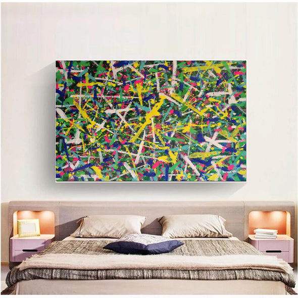 Living room paintings for sale | large pollcok style painting | Colorful painting L769-2