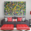 Living room paintings for sale | large pollcok style painting | Colorful painting L769-1